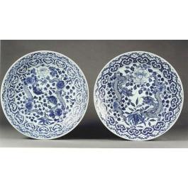 Paio piatti in porcellana