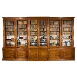 Breakfront Bookcase in mogano biondo