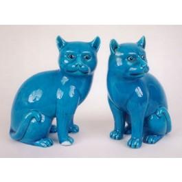 Paio di  gatti in porcellana
