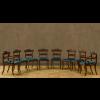 Set di sei sedie e due poltroncine in mogano